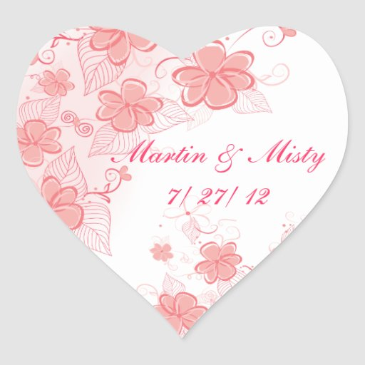 Pink Floral Save the Date Heart Sticker