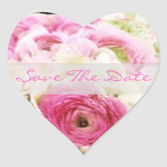 Pink Floral Save The Date Heart Wedding Sticker