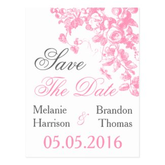 Pink floral Save the Date postcards Wedding set
