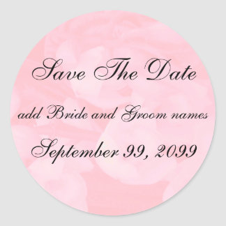 Pink Floral Save The Date Reminders Classic Round Sticker