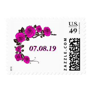 Pink Floral Save the Date Stamp