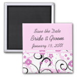 Pink Floral Save the Date Wedding Magnet