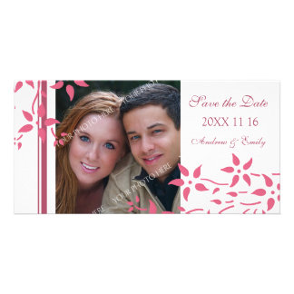 Pink Floral Save the Date Wedding Photo Cards