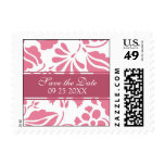 Pink Floral Save the Date Wedding Stamps