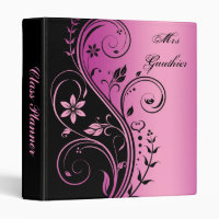 Pink Floral Scroll Teachers Class Planner Binder