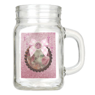 Pink Floral Shabby Chic Button & Bow Mason Jar
