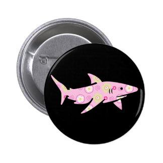 Pink Floral Shark Button