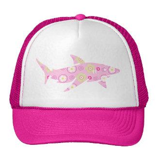Pink Floral Shark Trucker Hat