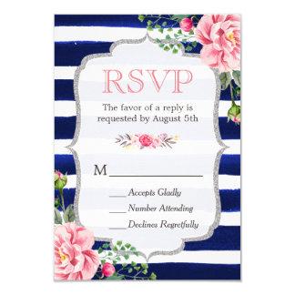 Pink Floral Silver Glitter Navy Blue Stripes RSVP Card