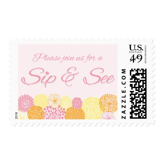 Pink floral sip and see new baby party stamps