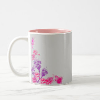 Pink floral sketch mug