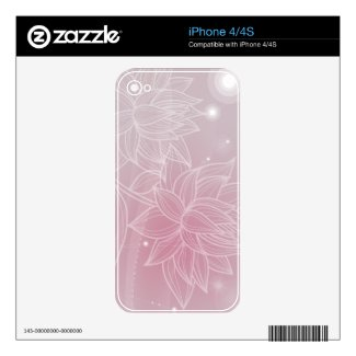 pink Floral Skin Decal For The Iphone 4s