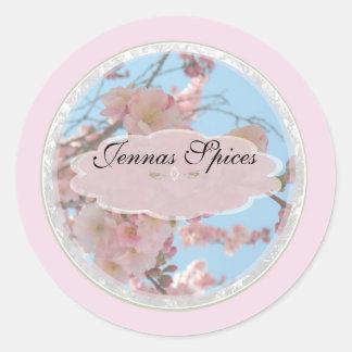 Pink Floral Spice Jar Label Round Stickers