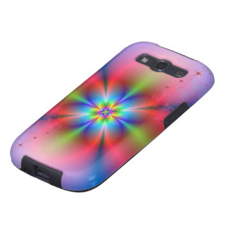 Pink Floral Spray on Blue Samsung Galaxy S3 Cases