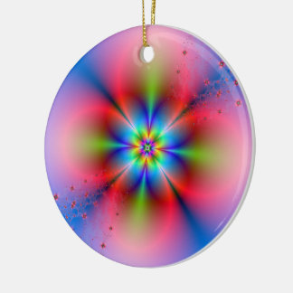 Pink Floral Spray on Blue  Ornament