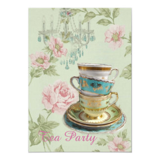 pink floral spring bridal shower tea party invite