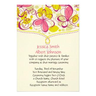 Pink Floral Spring Wedding Invite