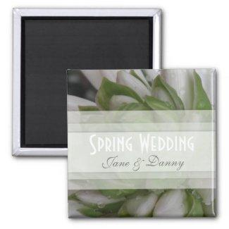 Pink Floral Spring Wedding Magnet magnet