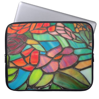 Pink Floral Stained Glass Laptop Sleeve Computer Sleeve