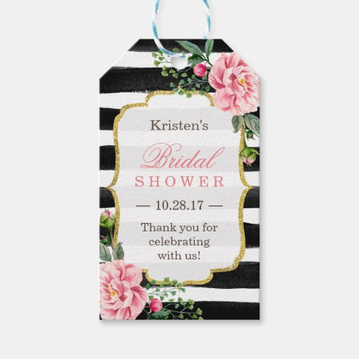 Pink Floral Stripes Bridal Shower Thank You Gift Tags Zazzle