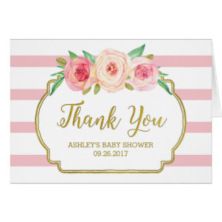Pink Floral Stripes Gold Baby Shower Thank You Card
