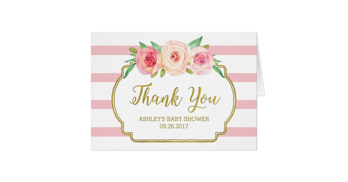 Pink Floral Stripes Gold Baby Shower Thank You Card Zazzle