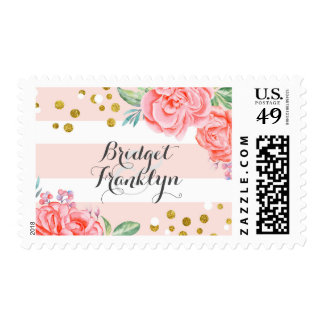 Pink Floral Stripes Gold Confetti Watercolor Chic Postage