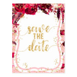 Pink Floral Stripes & Gold Wedding Save the Date Postcard
