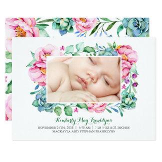 Pink Floral Succulents Bouquet Birth Announcement