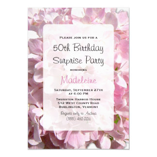Pink Floral Surprise Birthday Party Card