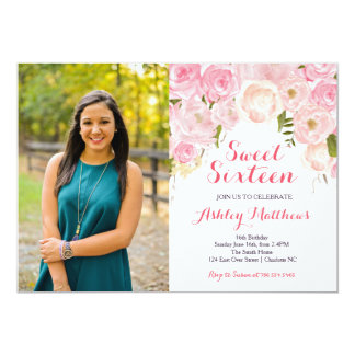 Pink Floral Sweet Sixteen Birthday Invitation