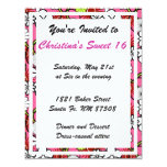 """Pink Floral Sweet Sixteen Party Invitation 4.25"""" X 5.5"""" Invitation Card"""