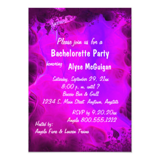 Pink Floral Swirl Bachelorette Party Invitation