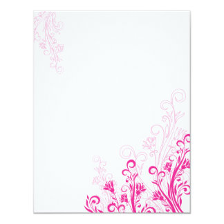 Pink Floral Swirl (blank) Card