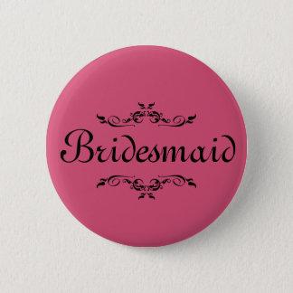 Pink Floral Swirl Border Bridesmaid Button