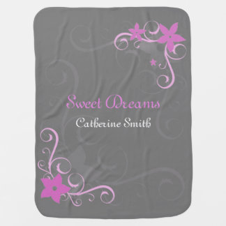 Pink floral swirl personalized baby name receiving blanket