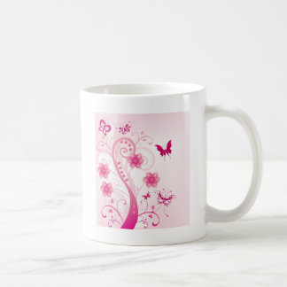 Pink Floral Swirl with Butterfies Coffee Mug