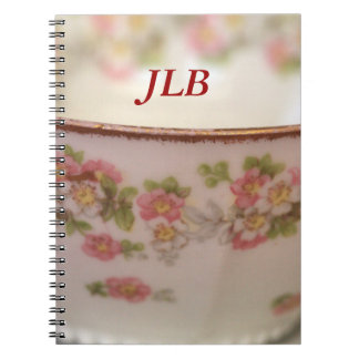Pink Floral Teacup Personalize Spiral Notebook