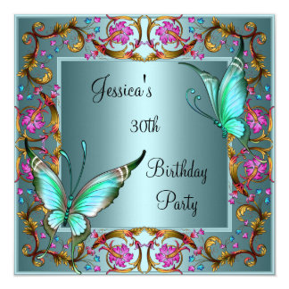 "Pink Floral Teal Blue Butterfly 30th Birthday 5.25"" Square Invitation Card"