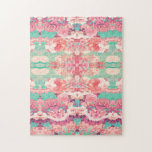 Pink Floral Teal Fashion Kaleidoscope Pattern Puzzles