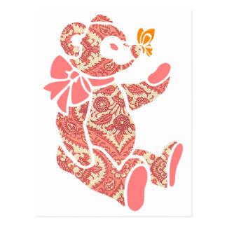 Pink floral Teddy Bear with Butterfly Postcard