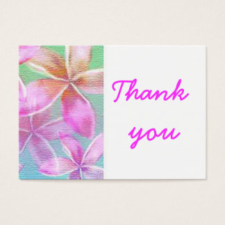 pink floral thank you business card