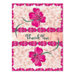 PINK floral Thank You Post Cards