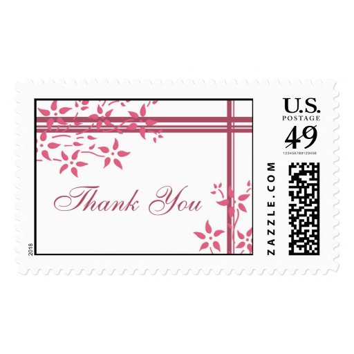 Pink Floral Thank You Wedding Stamps