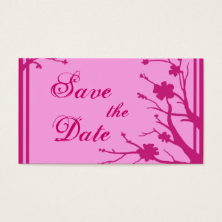 Pink floral theme Save the Date business cards