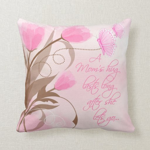 Pink Floral Throw Pillow For Mom