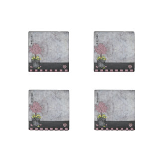 """Pink floral topiary """"Fallow your dreams"""" Stone Magnet"""