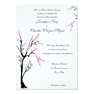 Pink Floral Tree Wedding Invitations