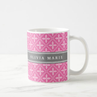 Pink Floral Trellis Pattern Grey Name Coffee Mug