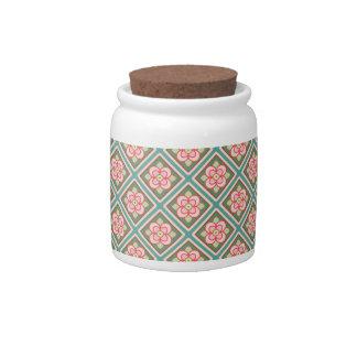 Pink Floral Trellis Vintage Flower Pattern Candy Jar